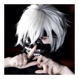 Tokyo Ghoul - Ken Kaneki lyhyt valkoinen peruukki
