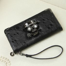 Women's long wallet with skull logo