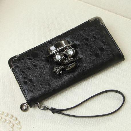 Women's long wallet with skull logo