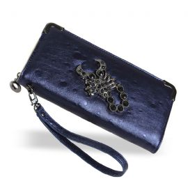 Stylish long wallet with scorpion logo