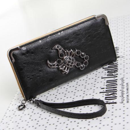 Stylish long wallet with scorpion logo