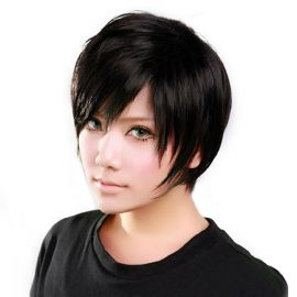 Cosplay short black wig