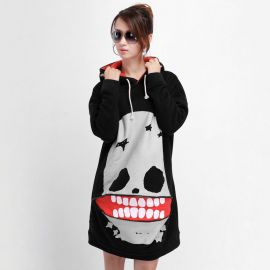 Skull hoodie with mouth zipper