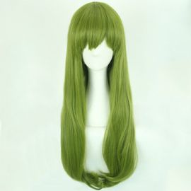 Cosplay long dark green wig