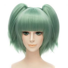 Cosplay short turquoise green wig with ponytails