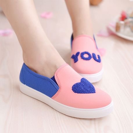Heart patterned loafers