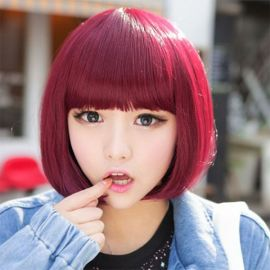 Cosplay short wine red wig