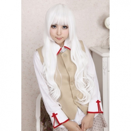 Cosplay long white curly wig