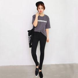 Women's fashion black jeans
