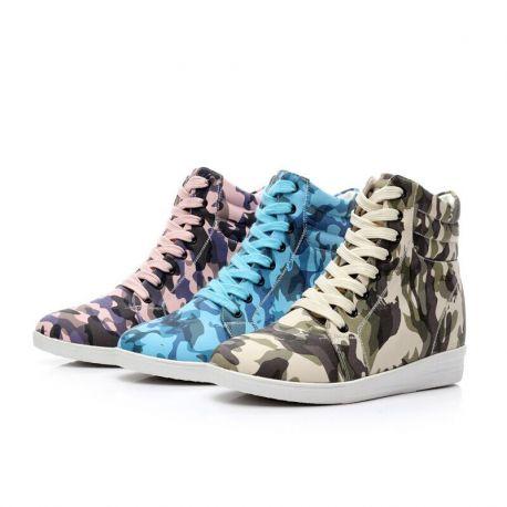 Camo high heel sneakers