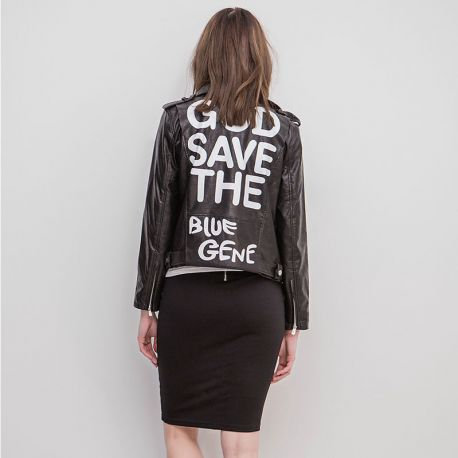 God Save the Blue Gene leather jacket