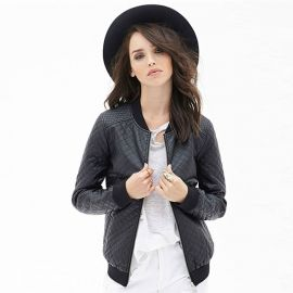 Women's fashion quilted leather jacket