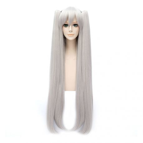 Cosplay long silver wig with ponytails