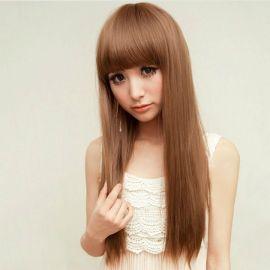 Cosplay pitkä vaaleanruskea suora peruukki otsatukalla