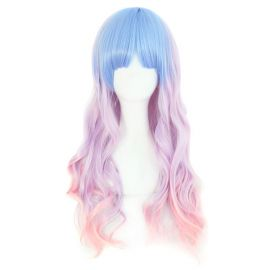 Cosplay long blue-purple curly wig