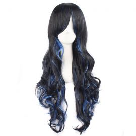 Cosplay long black blue curly wig
