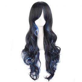 Cosplay lång blå-svart peruk