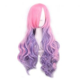 Cosplay pink purple curly wig