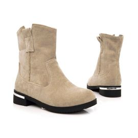 Women's calf length mocca boots