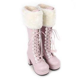 Cosplay pink Lolita boots