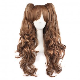 Cosplay long light brown curly wig with ponytails