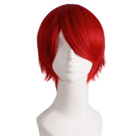 Cosplay lyhyt tummanpunainen peruukki