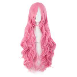 Cosplay pitkä vaaleanpunainen kihara peruukki