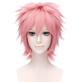 Cosplay lyhyt vaaleanpunainen peruukki
