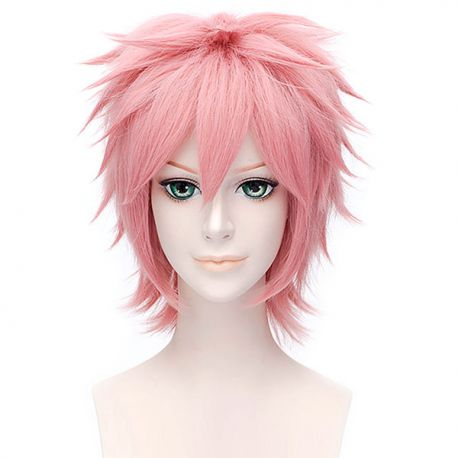 Cosplay short pink wig