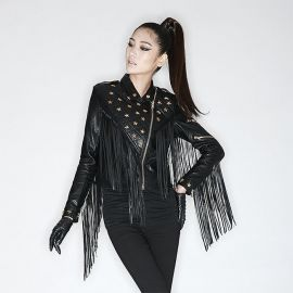 Stylish rivet leather jacket with tassels