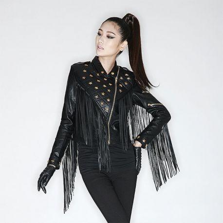 Stylish rivet leather jacket with tassels