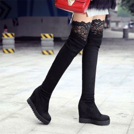 Women's long boots with lace