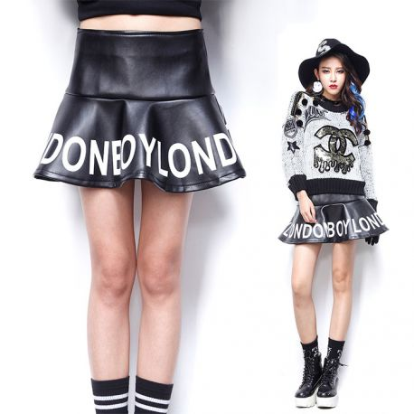Stylish women's leather skirt