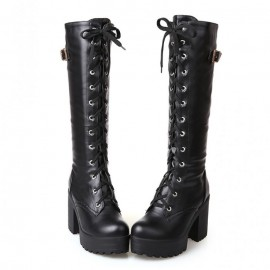 Women's heeled leather boots