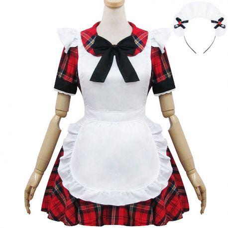 Red striped Lolita maid dress