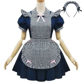 Dark blue plaid Lolita maid dress