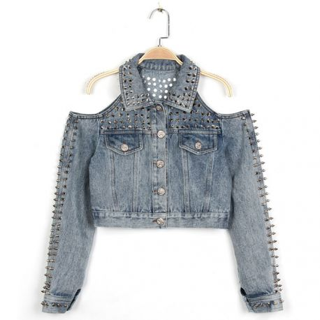 Stylish off the shoulder denim jacket with rivets