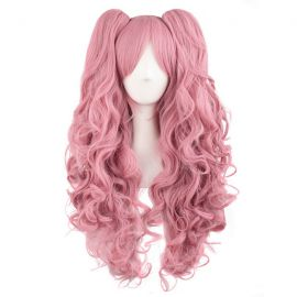 Cosplay long pink curly wig with ponytails