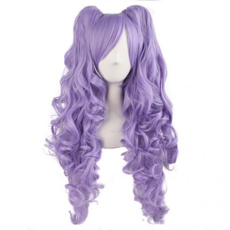 Cosplay long light purple curly wig with ponytails