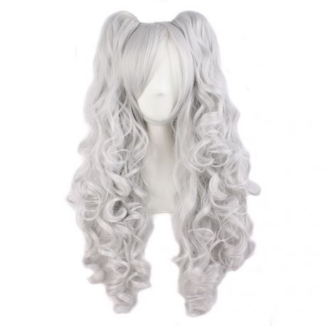 Cosplay long silver curly wig with ponytails