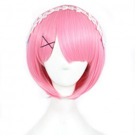 Re:Zero - Ram lyhyt vaaleanpunainen peruukki