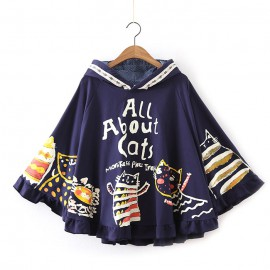 Cute women's cat poncho