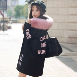 Long winter jacket with fur collar
