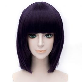 Cosplay short purple wig with bangs