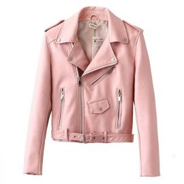 Women's pink leather jacket