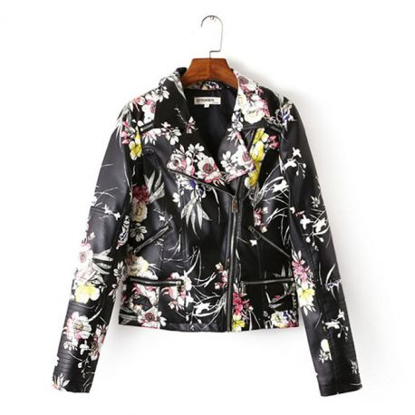 Women's floral pattern leather jacket
