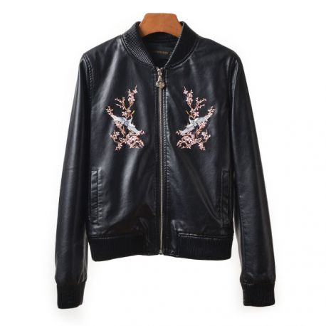 Stylish floral pattern leather jacket