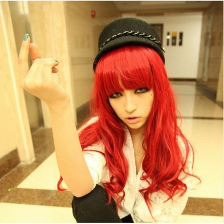 Cosplay long dark red wig