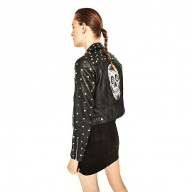 Women's skull pattern leather jacket with rivets