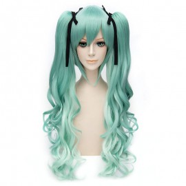 Cosplay long turquoise green curly wig with ponytails